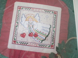 Vtg Sunset Counted Cross Stitch Kit, Noel Angel Pillow Or Picture, Xmas 1992 - $9.74