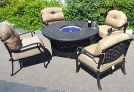 Nassau patio furniture set outdoor fire pit propane table 5 piece dining Bronze image 2