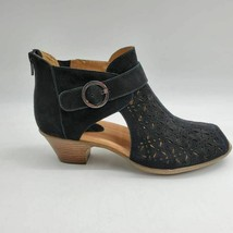 Earth Womens Ankle Boots Booties Black Suede Open Toe Med High Zip Cutout 8.5W - $39.59