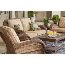 Beacon Park Wicker Outdoor Loveseat with Toffee Cushions - $514.00