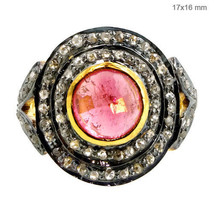 Pink Tourmaline Gemstone 925 Sterling Silver Cluster Ring Pave Natural Diamond 7 - $149.60