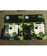2x Genuine OEM HP 933 Tri-Color Cyan/Magenta/Yellow Ink Cartridges Exp 0... - $31.67