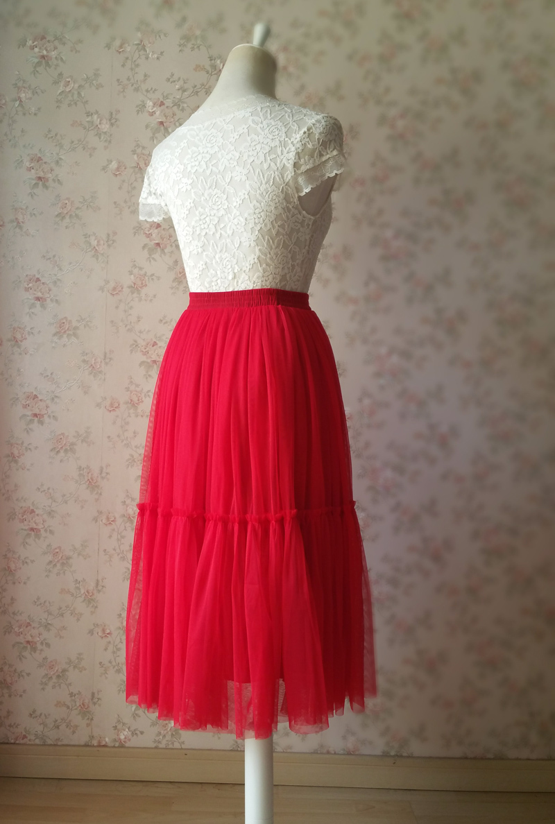 RED A-LINE High Waist MIDI Tulle Skirt Wedding Bridesmaid Midi Skirt Party Skirt