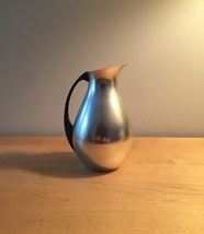 "Vintage 60s MCM 6"" Aluminum Pitcher with Bakelite handle"