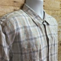 Levis Mens XL Beige Blue Black Plaid Linen Blend Short Sleeve Button Up ... - $10.30