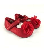 Toddler Girls Ballet Flats Mary Jane Hook & Loop Floral Applique Red Size 3 - $14.50