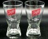 """2 Vtg Schlitz Pilsner Sham Beer 10oz Glasses 6"""" Set Brew Man Cave Collector"""