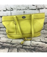 "Fossil Womens Purse Yellow Leather Shoulder Bag Key Accent 16""X10""X4"" - $19.79"