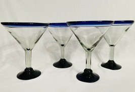 Hand Blown Martini Glasses Cobalt Blue Rim & Base Set Of 4 Cocktail Bar ... - $27.72