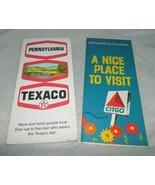 Vintage Lot of 2 Pennsylvania Travel Road Maps Citgo & Texaco Advertising - $9.90