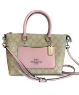 Coach Mini Emma Satchel ~ Signature Light Khaki & Carnation Pink Leather... - $123.95