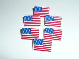 Wonderful U.S. Flag Plastic Shank Buttons (6)  American Flag Buttons 1/2... - $6.92