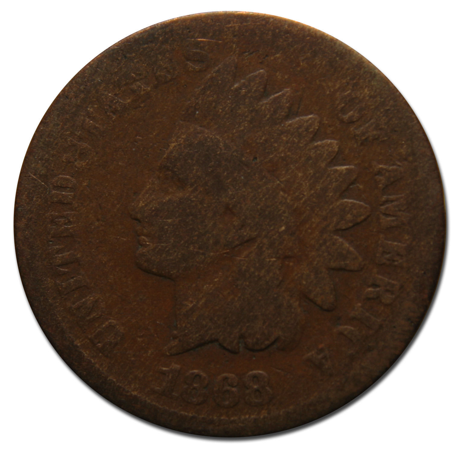 1868 One Cent Indian Head Penny Coin Lot# MZ 3773