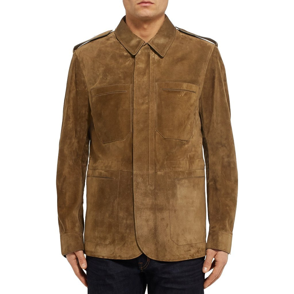 Suede Leather Stander Collar Men Leather Jacket