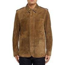 Suede Leather Stander Collar Men Leather Jacket