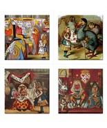 Alice In Wonderland Characters Ceramic Color Tile Set Of 4 Decorative Ti... - $44.99