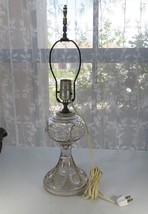 Vintage heavy thick art glass lamp mid century deco - $30.00