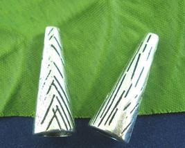 15Pcs Antique Silver Long End Bead Caps 28mm - $5.53