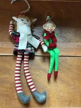 Lot of 2 Long Red & Green Plaid & Plain Fabric Elf Elfin Christmas Tree ... - $11.29