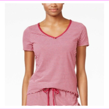 Nautica V-Neck Pajama T-Shirt in Beet Red with Stripes, Small - $5.49