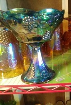 Vintage Blue Indiana Harvest Grape Carnival Glass Pedestal Candy Dish NO... - $10.09