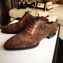 Handmade Men's Brown Lace Up Dress/Formal Suede Oxford Shoes image 1