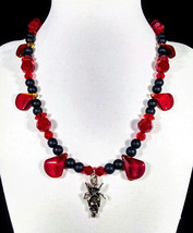 """17"""" red drop artglass & crystal necklace with sterling silver spider wit... - $69.00"""