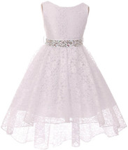 Flower Girl Dress Hi-Low Style Lace Allover White MBK 360 - $39.59+