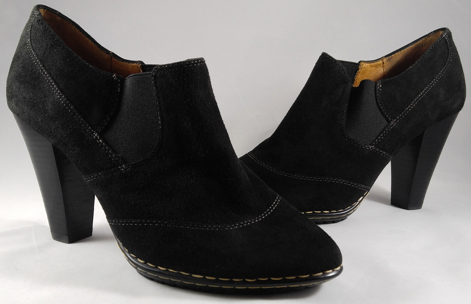 Women's Sofft Simola Ankle Boots Booties Heels Shoes Black Suede Leather Size 7W