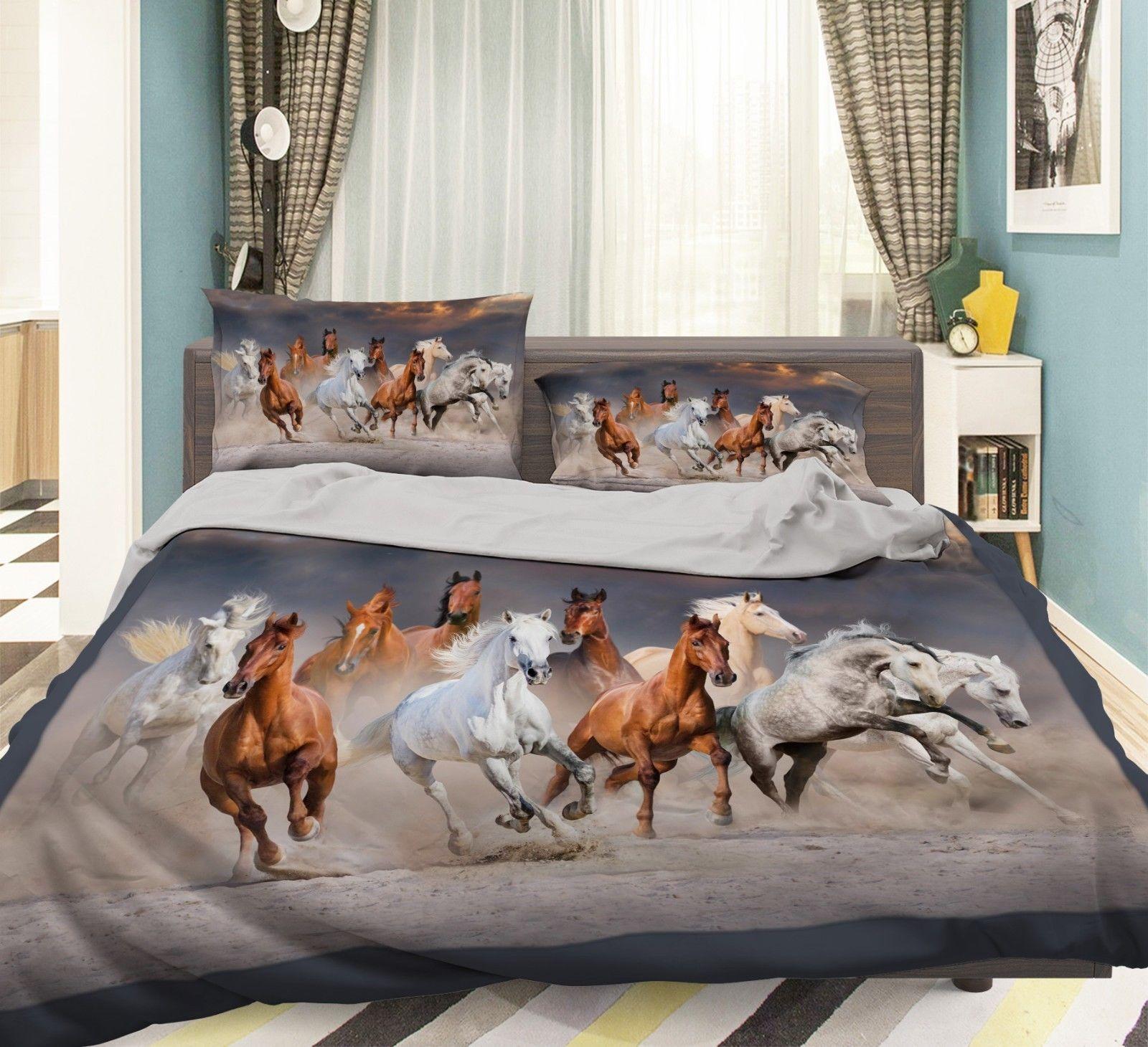 3D Run Horses 36 Bed Pillowcases Quilt Duvet Cover Set Single Queen King Size AU - $64.32 - $96.47