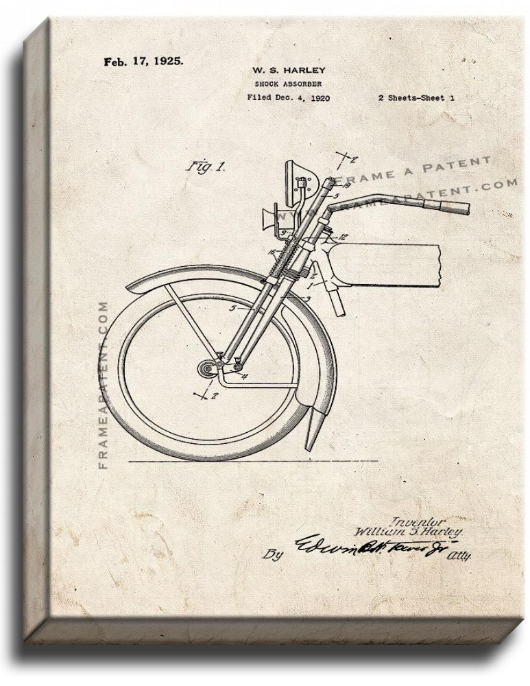 Primary image for Harley Motorcycle Shock Absorber Patent Print Old Look on Canvas