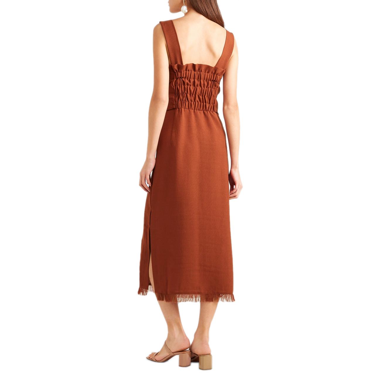 NANUSHKA Riley Tie-Front Button Down Midi Dress with Fringe In Brick