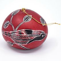 Handcrafted Carved Gourd North American Birds Cardinal Quail Ornament Made Peru image 3