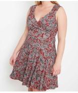 Plus Size Red Dress, Paisley Print Dress, Plus Size Short Dress, Burgundy - €43,23 EUR