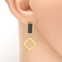Gold Tone Designer Drop Earrings, Jet Black Inlay & Dangling Geometric A... - $15.99