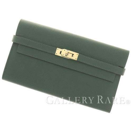 HERMES Kelly Wallet Veau Epsom Vert Anglais Long France #T Authentic 5402502