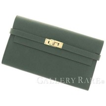 HERMES Kelly Wallet Veau Epsom Vert Anglais Long France #T Authentic 540... - $2,559.95