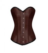 Brown Satin Gothic Burlesque Waist Training Bustier LONG Overbust Corset... - $69.29+