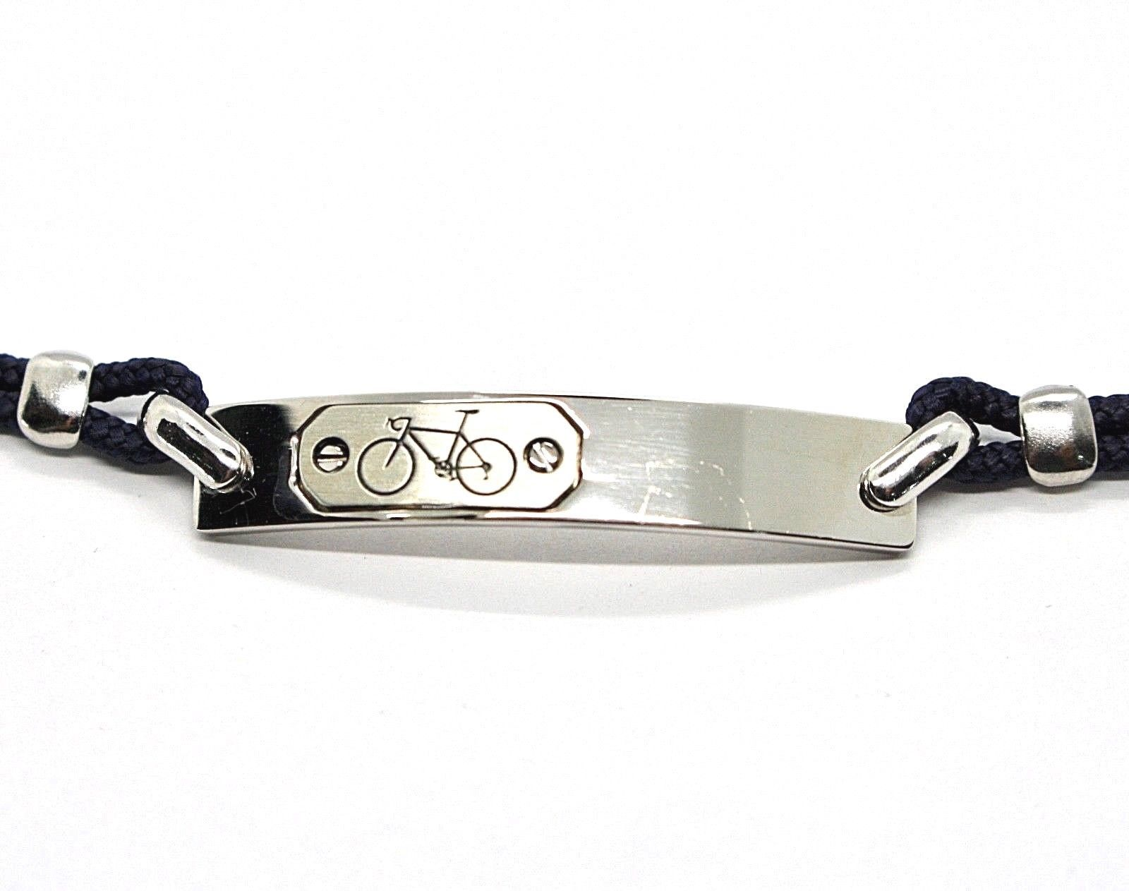 SILVER 925 BRACELET RHODIUM WITH PLATE with BICYCLE ENGRAVED AND ROPE 7 1/8in