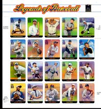 USPS Stamps - LEGENDS OF BASEBALL STAMP SHEET -- USA #3408, 20 : 33 CENT... - $10.00