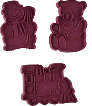 Hutzler Teddy Bear Train Snowman Purple Plastic Cookie Cutters 1986 62-6... - $4.94