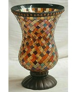 PartyLite Global Fusion Mosaic Tiles Stain Glass Hurricane Candle Holder... - $69.29