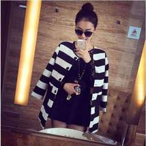 Black and White Striped Print Women Jacket - $39.96