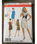 Simplicity Sewing Pattern 1012 1960s Style Dress Various Neckline Retro ... - $7.94