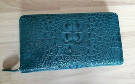 GENUINE CROCODILE SKIN LEATHER HANDMADE CLUTCH POUCH GREEN COLOR - $388.04 CAD