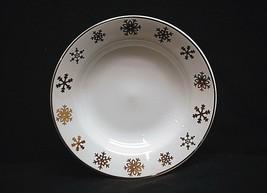 """Vintage Celebration by Gibson Design 8"""" Rim Soup Bowl w Gold Snowflakes & Rim - $14.84"""