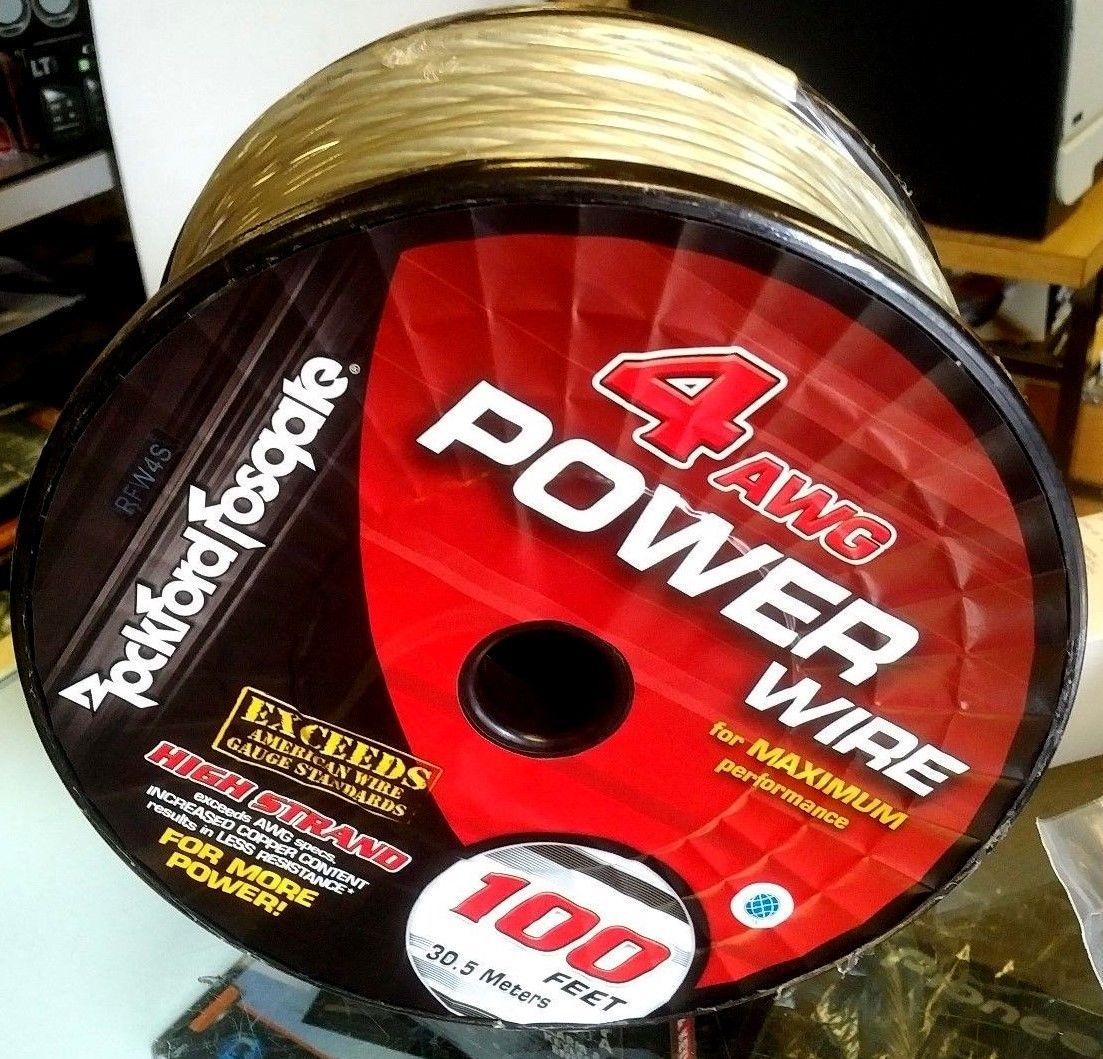 Rockford Fosgate RFW4S 50' length 4 Gauge OFC Frosted SILVER Power/Ground Wire