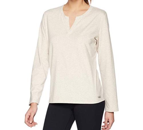 S/M Copper Fit Women's Sleep Replenish Mini Henley Top Shirt Oatmeal Heather NEW