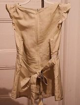 New Girls M 10/12 Top Babydoll Tan Linen Blend Embroidered NWT image 3