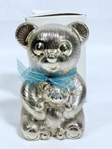 Vintage Godinger Coin Bank Teddy Bear Mom & Baby Silver Plated w Blue Ri... - $9.79